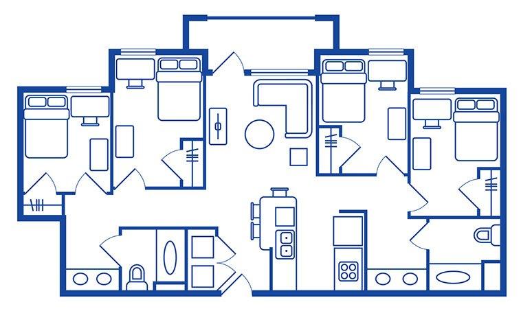 4 Bedroom, 2 Bath Apartments