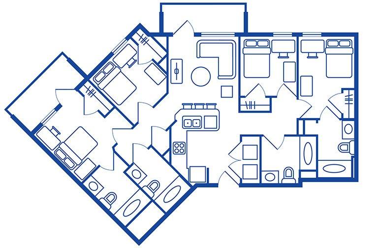4 Bedroom, 4 Bath Apartments Near Cal State Fullerton